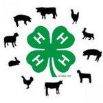 Circle with green 4-H emblem & livestock