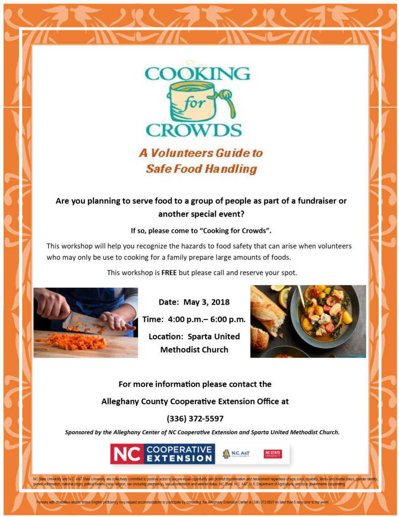 Cooking for Crowds Workshop | North Carolina Cooperative Extension