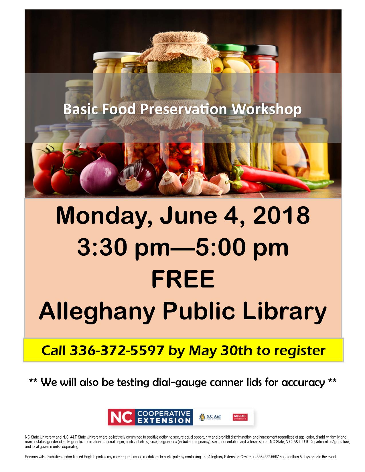 Basic Food Preservation Workshop flyer