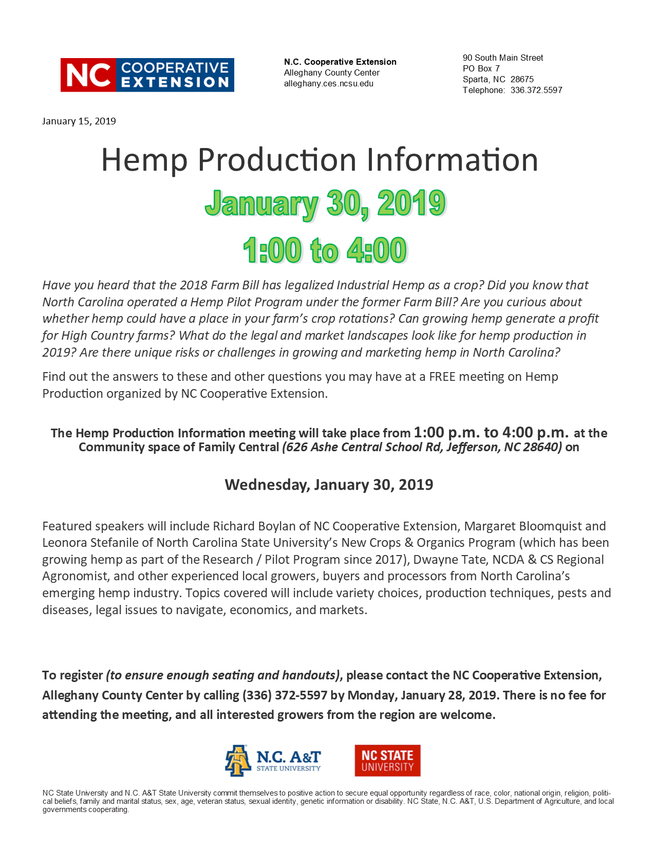 Hemp production information flyer image