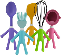 kitchen utensils with arms and legs