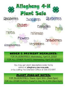 Cover photo for Alleghany 4-H 2020 Spring Plant Sale
