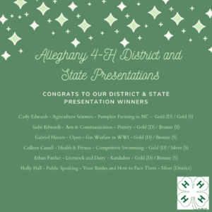 Cover photo for Alleghany 4-H District & State Presentation Winners