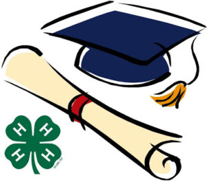 graduation hat & 4-H Clover with diploma