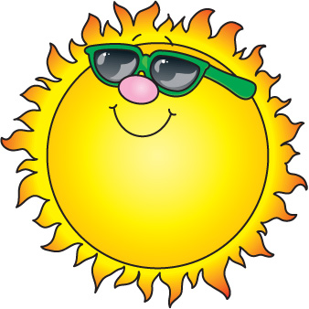 cartoon smiling sun with sunglasses